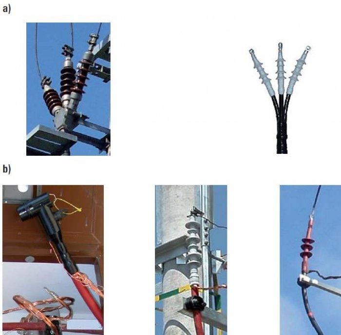 Fot. 7. Głowice kablowe służące do zakończenia kabli SN: a) o izolacji papierowo-olejowej, b) o izolacji wytłaczanej z polietylenu [1]. Uwaga! Głowice kablowe wewnątrz urządzeń elektroenergetycznych np. stacji, rozdzielnic, nie mają daszków