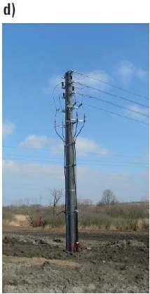 Fot. 8. Przykładowe stanowiska słupowe linii SN z głowicami kablowymi nowego typu składające się z dwóch żerdzi okrągłych bez łącznika (linia dwutorowa)[6]