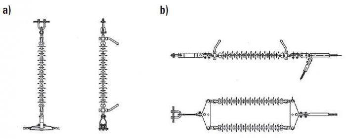 """Rys. 1. Łańcuchy izolacyjne instalowane w liniach 110 kV: a) łańcuch przelotowy jednorzędowy, b) łańcuch odciągowy dwurzędowy. UWAGA! Długość elementu izolacyjnego (tego z """"daszkami"""") w liniach 110 kV wynosi ok. 1,1 m [16]"""