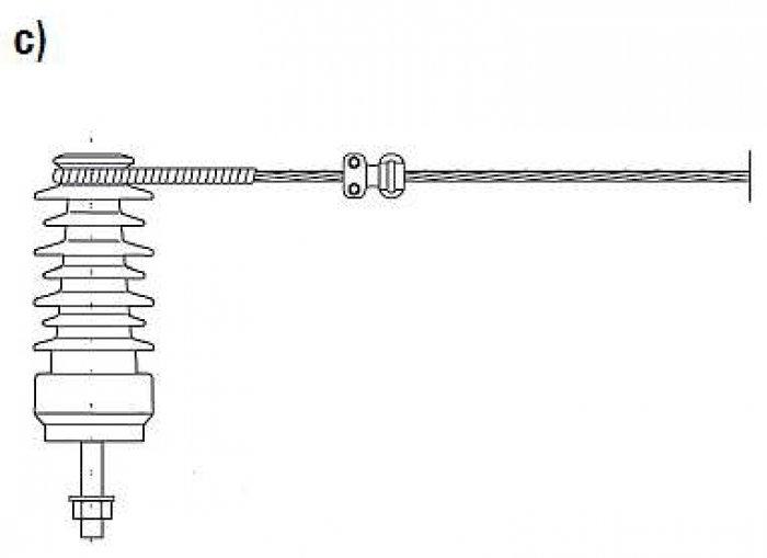 """Rys. 3. Sposoby mocowania przewodów w linii średniego napięcia do izolatorów wsporczych """"stojących"""": c) zawieszenie odciągowe stosowane na słupach funkcyjnych w sieci. UWAGA! Wysokość izolatora wsporczego w liniach 15–30 kV wynosi ok. 0,3 m [1, 2]"""