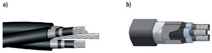 """Rys. 5. Kable """"uniwersalne"""" stosowane w liniach napowietrznych średniego napięcia: a) kabel z linką nośną stalową, b) kabel jednolity z powłoką kablową otaczającą wszystkie trzy żyły kabla [6, 15]"""