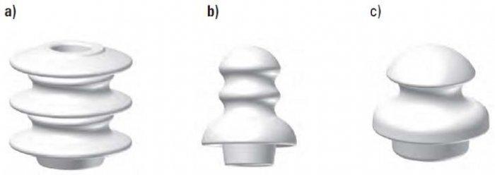 Rys. 6. Izolatory instalowane w liniach niskiego napięcia z przewodami gołymi: a) izolator porcelanowy stosowany na stanowiskach funkcyjnych w linii, b) izolator porcelanowy montowany na stanowiskach przelotowych w linii, c) izolator porcelanowy (lub sz.