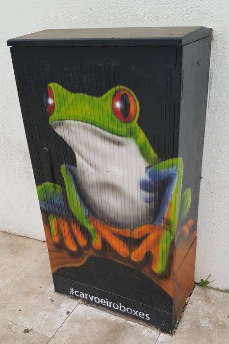 Elektroenergetyka w sztuce: obudowy elektryczne i street-art. Miejsce: Carvoeiro, Portugalia.