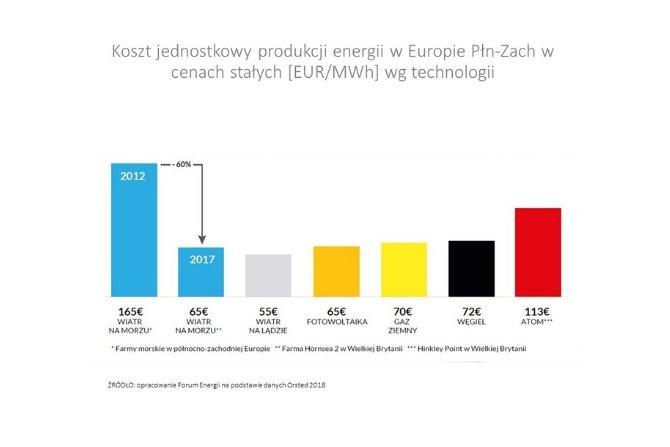 Koszt jednostkowy produkcji energii w Europie Płn-Zach w cenach stałych wg technologii Fot. PSEW