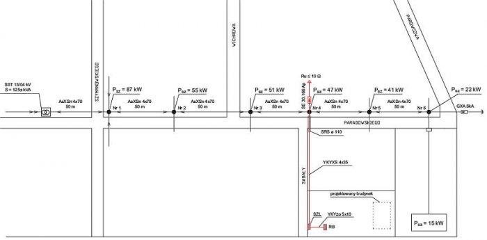 Rys. 1. Plan sytuacyjny z trasą projektowanej linii kablowej