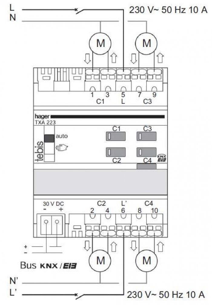 Rys. 2. Przykładowe podłączenie sterownika rolet TXA223 firmy Hager [2]