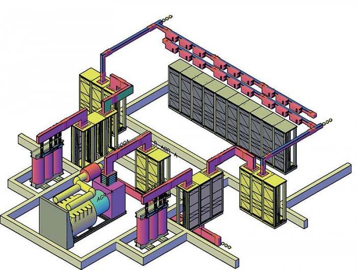 Rys. 4. Ustawienie urządzeń w serwerowni ze schematu na rysunku 3. oraz podłączenie pomiędzy nimi realizowane za pomocą przewodów szynowych SCP 2500 A. Zasilanie szaf serwerowych za pomocą przewodów szynowych SCP1250A i kaset odpływowych 160 A [źródło: m.