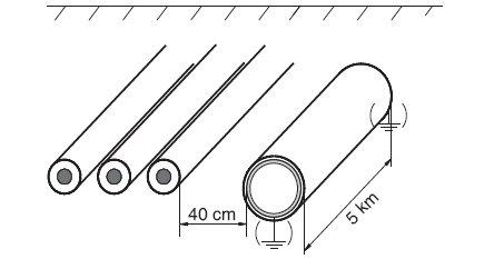 Rys.2.   Indukowanie napięć w zależności od warunków uziemienia metalowej rury w pobliżu linii kablowej WN