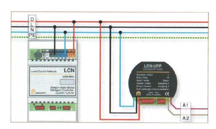 Rys. 3.  Wykorzystanie dodatkowej żyły przewodu wielożyłowego do komunikacji między modułami LCN – żyła danych D [2]