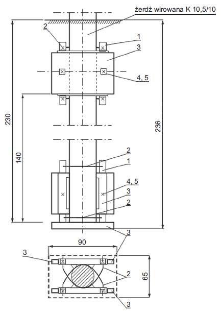 Rys. 3a Ustój płytowy typu U2a, gdzie: 1 – element mocowania płyty ustrojowej EUS‑2p (2 szt.); 2 – obejma Ous-1a – 4 szt.; 3 – płyta ustrojowa U-85 – 3 szt.; 4 – śruba z nakrętką M 16×20 – 4 szt.; 5 – podkładka f 16 – 4 szt.