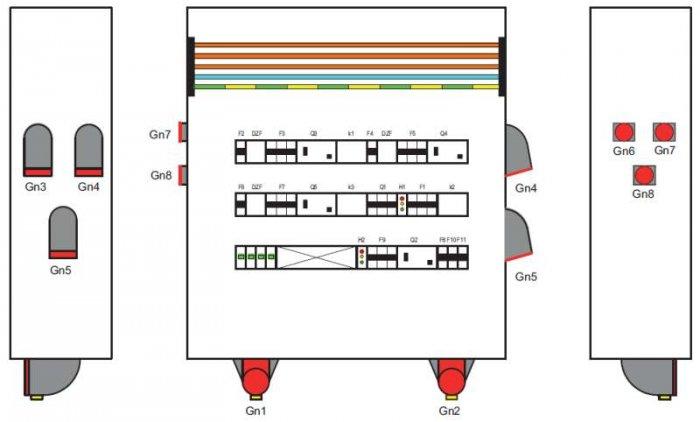 Rys. 3. Schemat montażowy rozdzielnicy RB bez osłon. Wykonać w II klasie ochronności, przy stopniu ochrony IP67