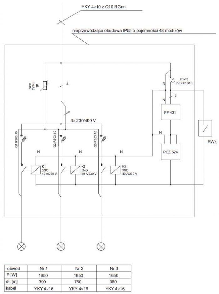 Rys. 4. Schemat ideowy rozdzielnicy oświetlenia