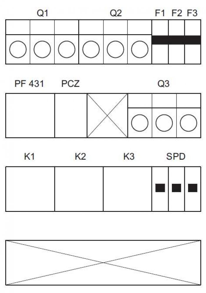 Rys. 5. Schemat montażowy rozdzielnicy oświetlenia Uwaga! Instalacja wewnątrz słupa w II klasie ochronności, zgodnie z normą PN-IEC 60364-7-714:2003 Oprawy oświetleniowe i słupowe, złącza kablowe w II klasie ochronności. Elektroenergetyczne linie kablow.