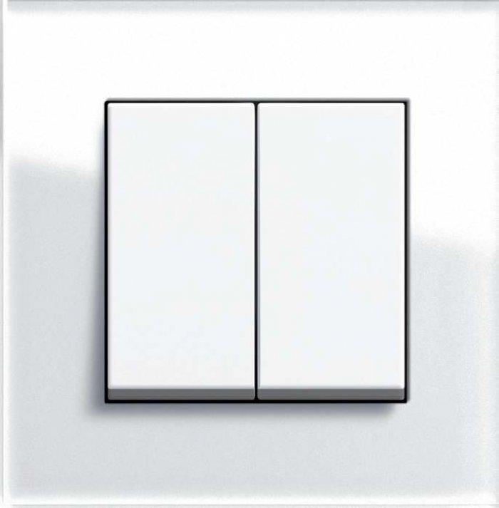Przycisk KNX o wyglądzie tradycyjnym dwuklawiszowy (dwu- lub czterofunkcyjny) Gira Esprit szkło.