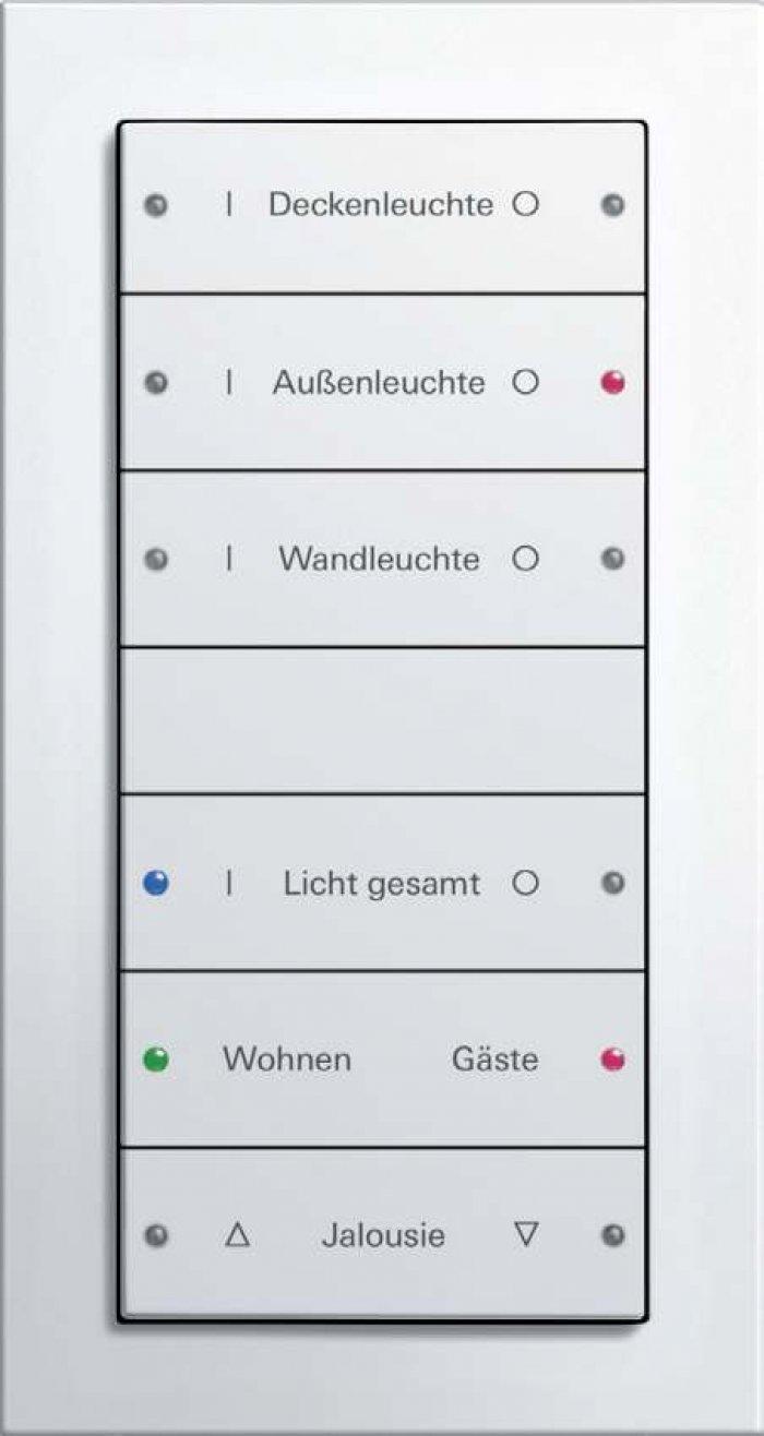 Typowy dla KNX przycisk sześcioklawiszowy  (dwunastoprzyciskowy) Gira E22.