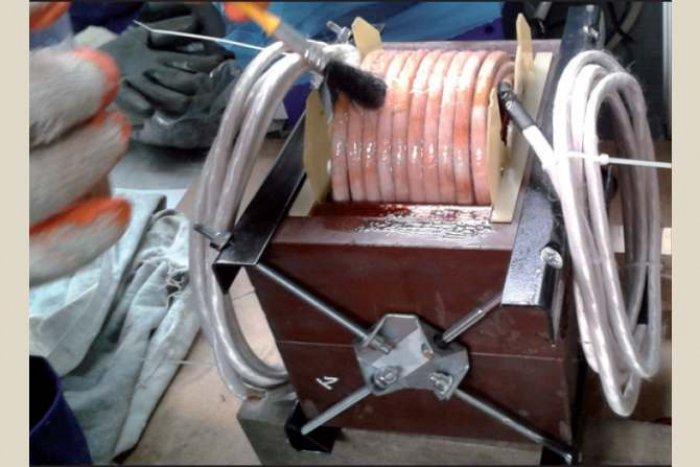 Fot. Impregnacja uzwojeń transformatora 50 kVA dla częstotliwości 2,5 kHz z rdzeniem  NMSC (dane własne)
