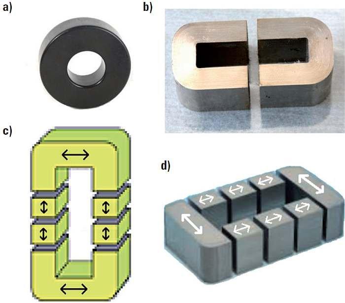 Rys. 3. Podstawowe typy rdzeni zwijanych i zwijanych ciętych (dane katalogowe): a) toroidalny, b) zwijany cięty o oknie prostokątnym, c) zwijany cięty wieloszczelinowy typu C, d) zwijany cięty wieloszczelinowy typu I