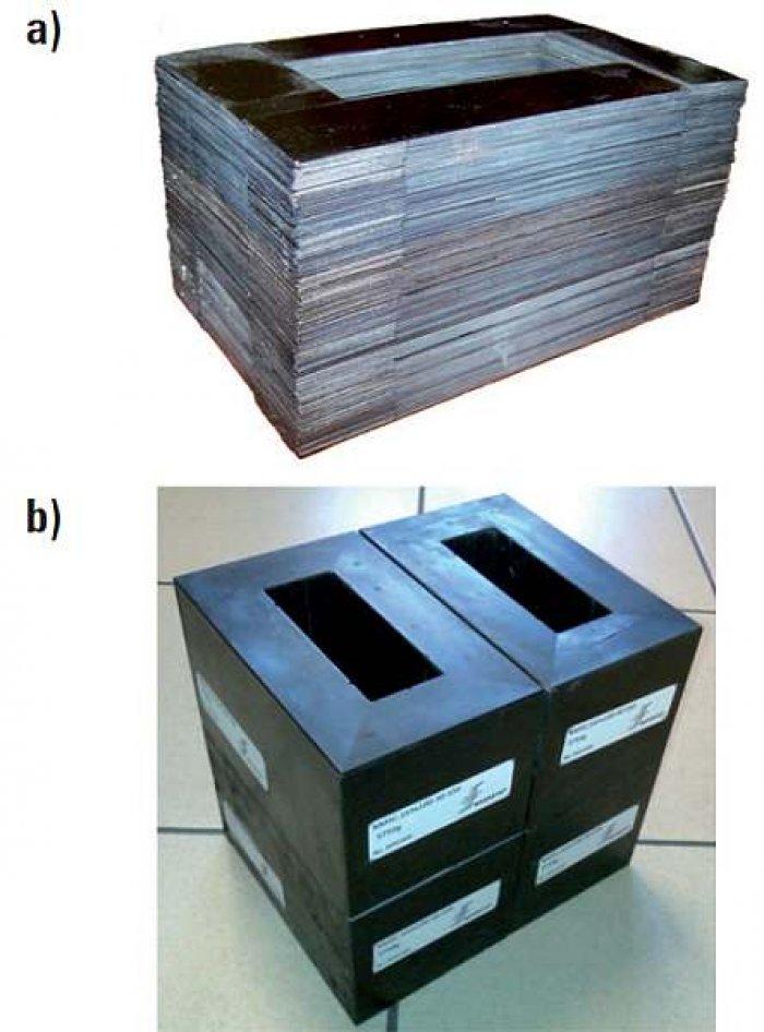 Rys. 4. Rdzenie pakietowane z taśmy nanokrystalicznej (dane własne): a) przykład realizacji pojedynczego rdzenia pakietowanego naprzemiennie o masie ok. 6 kg [22], b) zestaw czterech rdzeni z przeznaczeniem na transformator (fot.) przekształtnikowy 50 k.