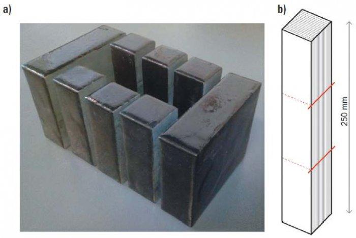 Rys. 7. Fotografia wieloszczelinowego rdzenia NMBC o masie 5 kg i o wymiarach zewnętrznych 150 mm × 80 mm × 100 mm i oknie 90 mm × 40 mm (dane własne): a) widok ogólny, b) ilustracja obrazująca rozcięcie trzech bloków z jednego spakietowanego bloku nano.