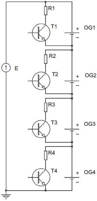 Rys. 8.  Obwód pasywnego balansowania ogniw; rys. W. Kurpiel, B. Miedziński