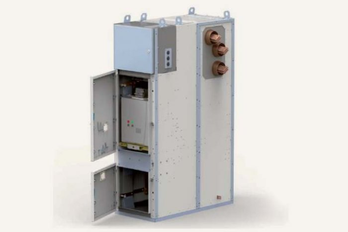 Fot.  Czteroprzedziałowa rozdzielnica o izolacji powietrznej typu RELF z pojedynczym układem szyn zbiorczych, na napięcie znamionowe do 40,5kV prod. ZPUE SA