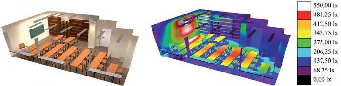 Rys. 1. Wizualizacja i rozkład natężenia oświetlenia w wybranej sali lekcyjnej