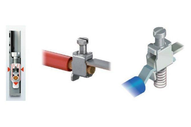 Przykłady połączenia śrubowego oraz zaciskowego śrubowo-sprężynowego[2, 5]