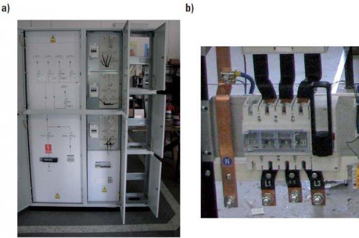 Fot. 1.  Przykład realizacji wyłącznika przeciwpożarowego prądu opartego na rozłączniku DPX-IS do zasilania wielolokalowego budynku mieszkalnego: a) widok rozdzielnicy z osłonami, b) widok samego aparatu [9]
