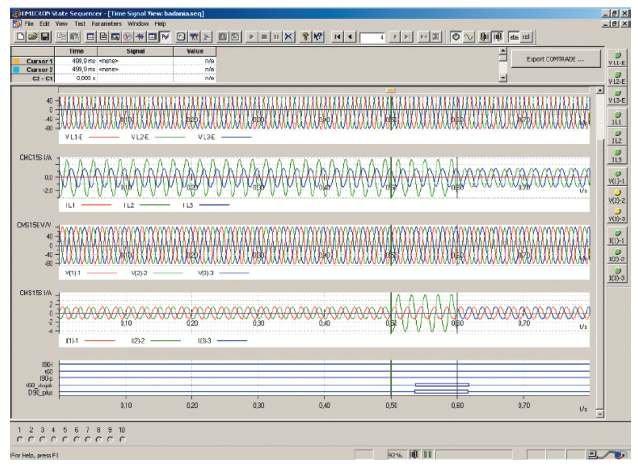 Rys. 10. Otrzymane przebiegi oraz sygnały dwustanowe w programie State Sequencer