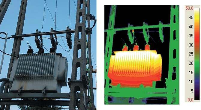 Fot. 1. Zdjęcie w świetle widzialnym i podczerwieni (zakres spektralny 8–14 μm) napowietrznej stacji transformatorowej.
