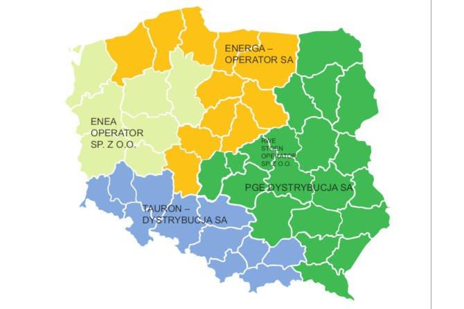 Rys. 1. Obszary działania Operatorów Systemów Dystrybucyjnych