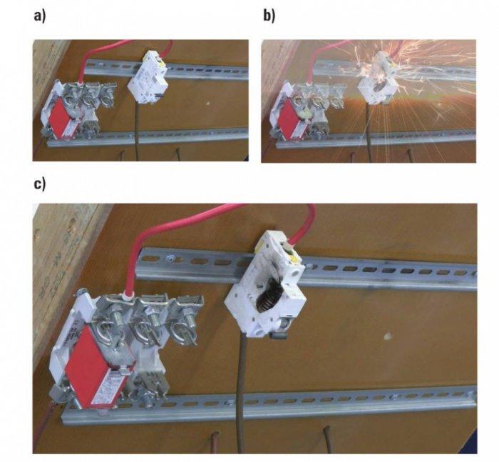 Rys. 6.  Dobezpieczenie kombinowanego ogranicznika przepięć za pomocą wyłącznika nadmiarowo-prądowego C40. Zdjęcie wykonane przed badaniem (a), wtrakcie próby (b), po jej zakończeniu (c)