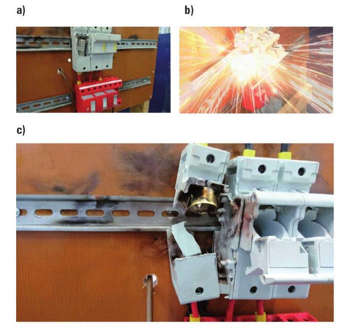 Rys. 7.  Dobezpieczenie kombinowanego ogranicznika przepięć za pomocą wkładki bezpiecznikowej BiWtz cylindrycznej 22x58mm 63AgG. Zdjęcie wykonane przed badaniem (a), wtrakcie próby (b), po jej zakończeniu (c)