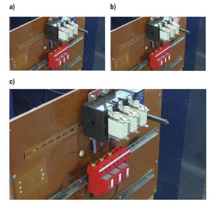 Rys. 8.  Dobezpieczenie kombinowanego ogranicznika przepięć za pomocą wkładki bezpiecznikowej NH00100AgG 500V WT-00. Zdjęcie wykonane przed badaniem (a), wtrakcie próby (b), po jej zakończeniu (c)