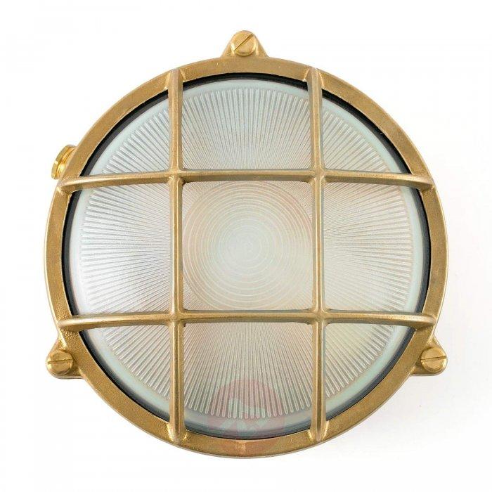 okragla lampa morska noray w mosieznym kolorze