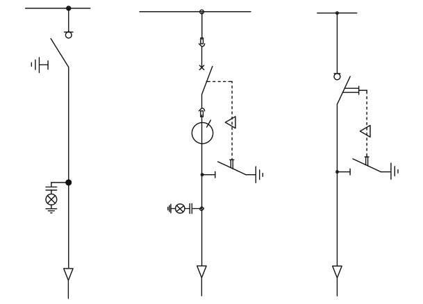Rys. 1.  Przykładowe schematy jednokreskowe pola liniowego