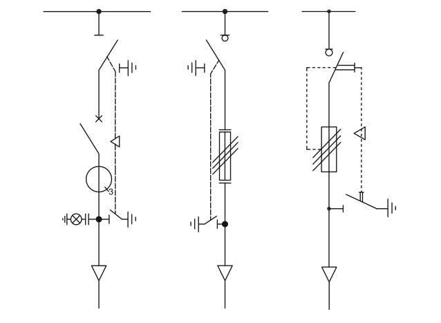 Rys. 2.  Przykładowe schematy jednokreskowe pola transformatorowego