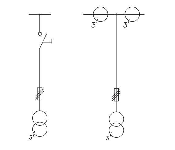 Rys. 4.  Przykładowe schematy jednokreskowe pola pomiarowego