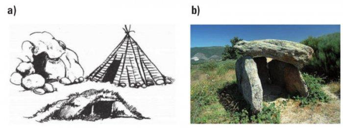 Rys. 1.  Pierwsze budowle: a) ziemianki iszałasy, b) dolmeny ibudowle grobowe