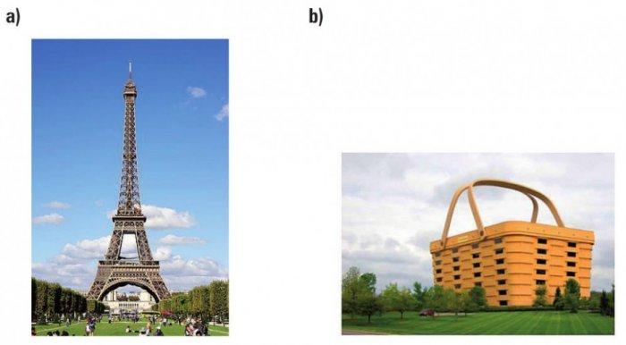 Rys. 2.  Nowoczesne technologie wbudownictwie: a) wieża Eiffla (1889r.), b) siedziba firmy produkującej koszyki (USA)