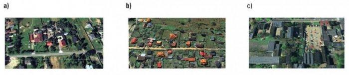 Rys. 5.  Obrazy środowiska: a) wiejskiego, b) podmiejskiego, c) miejskiego