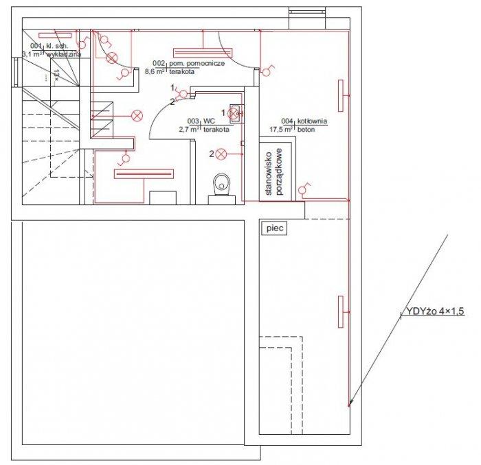 rys 5 plan instalacji oswietleniowej rzut piwnic