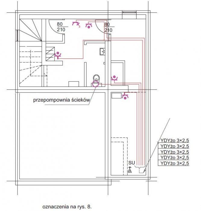 rys 6 plan instalacji gniazd wtykowych rzut piwnic