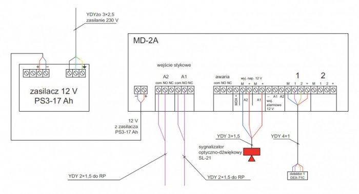 rys 7 schemat polaczen centralki detekcji stezenia wodoru