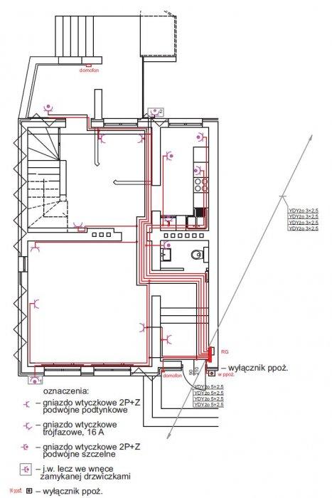 rys 8 plan instalacji gniazd wtykowych rzut parteru
