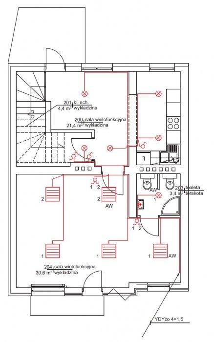 rys 9 plan instalacji oswietlenia rzut pietra