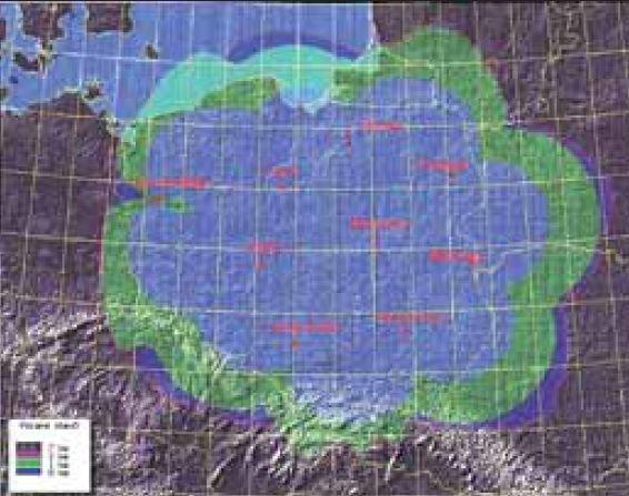 rys 1 lokalizacja stacji pomiarowych systemu perun i deklarowana przez producenta dokladnosc rejestracji wyladowan kolor niebieski do 1 km zielony 1 2 km