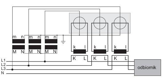 rys 2 uklad do pomiaru mocy i energii w sieci trojfazowej czteroprzewodowej z wykorzystaniem trzech przekladnikow napieciowych i pradowych