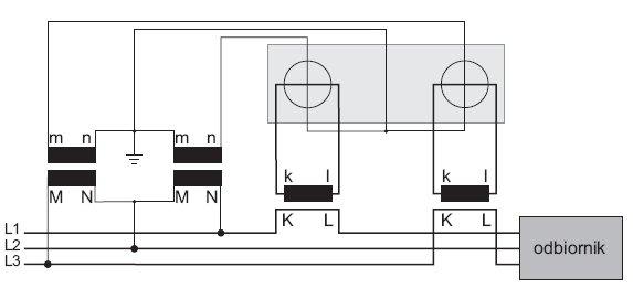 rys 3 uklad do pomiaru mocy w ukladzie trojfazowym trojprzewodowym