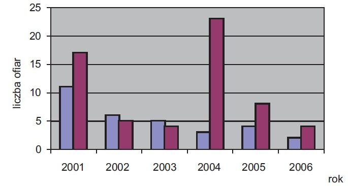rys 4 liczba wszystkich osob porazonych piorunem na podstawie danych z gw